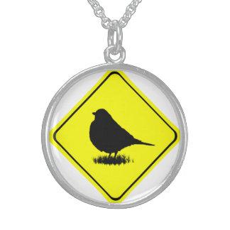 《鳥》アメリカゴガラの警告標識愛野鳥観察 スターリングシルバーネックレス