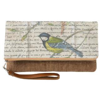 《鳥》アメリカゴガラの鳥のコラージュ クラッチバッグ