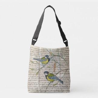 《鳥》アメリカゴガラの鳥のコラージュ クロスボディバッグ