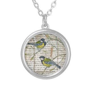 《鳥》アメリカゴガラの鳥のコラージュ シルバープレートネックレス