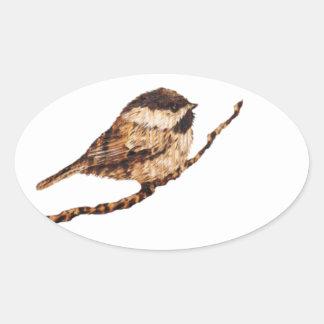《鳥》アメリカゴガラのPyrography 楕円形シール