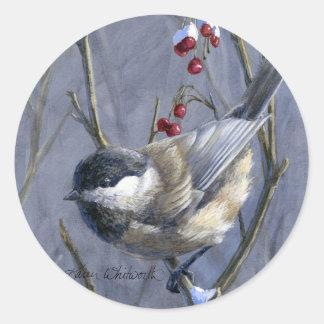 《鳥》アメリカゴガラ及び果実の冬の雪 ラウンドシール