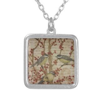 《鳥》アメリカゴガラ シルバープレートネックレス