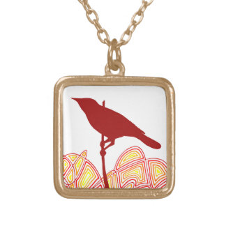 鳥 ゴールドプレートネックレス
