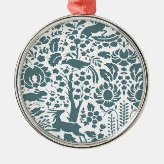 鳥、シカ、木のフォークパターン メタルオーナメント