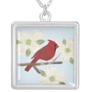 (鳥)ショウジョウコウカンチョウおよびミズキの水彩画のネックレス シルバープレートネックレス