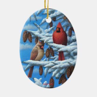 (鳥)ショウジョウコウカンチョウのクリスマスのオーナメント セラミックオーナメント