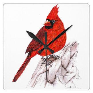(鳥)ショウジョウコウカンチョウ スクエア壁時計