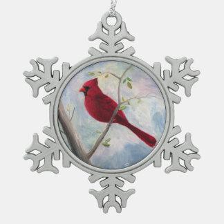 (鳥)ショウジョウコウカンチョウ スノーフレークピューターオーナメント