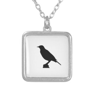 鳥 シルバープレートネックレス