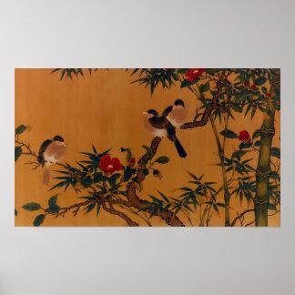鳥、タケ、及びツバキの日本のな芸術1644-1911年 ポスター
