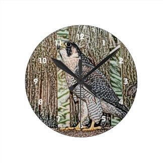 《鳥》ハヤブサのスケッチの鳥のデザインの野生動物 ラウンド壁時計