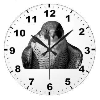 《鳥》ハヤブサのデザインのカスタムな柱時計 ラージ壁時計