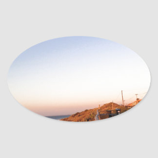 《鳥》ハヤブサのビーチSeagul 楕円形シール