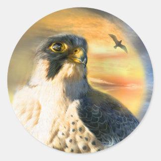 《鳥》ハヤブサの日曜日の芸術のステッカー ラウンドシール