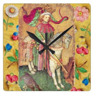 《鳥》ハヤブサの旧式なTarots /Germanの絵札か王 スクエア壁時計