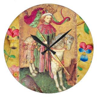 《鳥》ハヤブサの旧式なTarots /Germanの絵札か王 ラージ壁時計