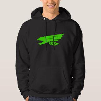 《鳥》ハヤブサの緑の黒いフード付きスウェットシャツ パーカ