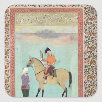 《鳥》ハヤブサを握っている馬のShahアッバース スクエアシール