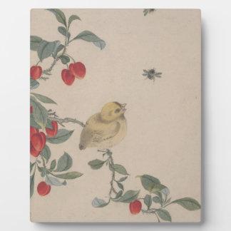 鳥、昆虫および花-イZhai フォトプラーク