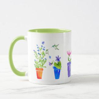 鳥、花および植木鉢 マグカップ