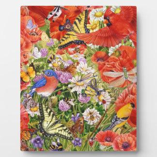 鳥、蝶および蜂のイーゼル フォトプラーク