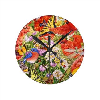 鳥、蝶および蜂の柱時計 ラウンド壁時計