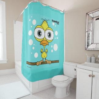 鳥(黄色い、淡いブルーBg)シャワー・カーテン シャワーカーテン