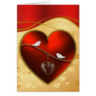鳩およびルビー色の赤いハート グリーティングカード