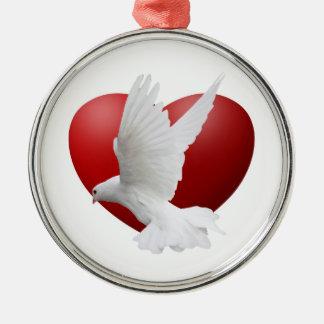 鳩のハートのオーナメント メタルオーナメント
