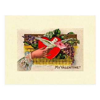 鳩のメッセンジャーのバレンタイン ポストカード