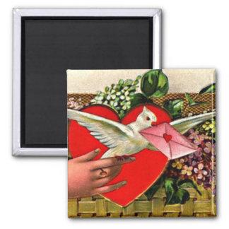 鳩のメッセンジャーのバレンタイン マグネット