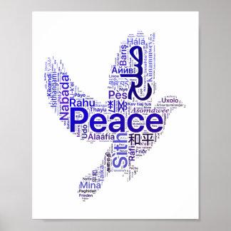 鳩の単語の芸術の平和 ポスター