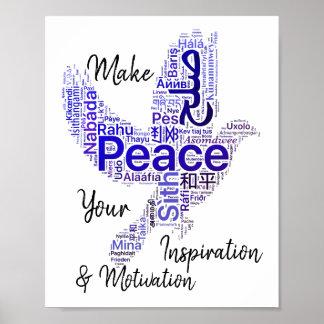鳩の単語の芸術の感動的な引用文の平和 ポスター