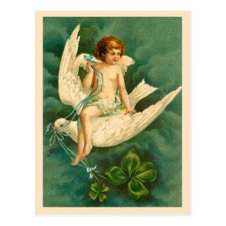 鳩の天使の飛行-セントパトリックの日の郵便はがき ポストカード