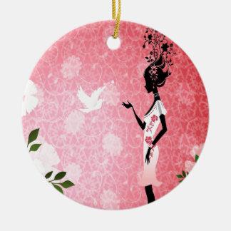 鳩の抽象的な花のピンク愛 セラミックオーナメント
