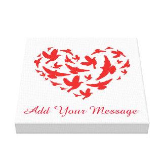 鳩の鳥の赤と白のカスタムなキャンバスのプリント キャンバスプリント