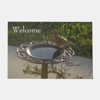 鳩の鳥のBirdbathのSpiegelandの歓迎された玄関マット ドアマット