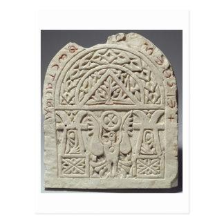 鳩またはワシの第8第9 centuとの葬式のstela ポストカード