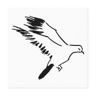 鳩-白黒ラインスケッチ キャンバスプリント