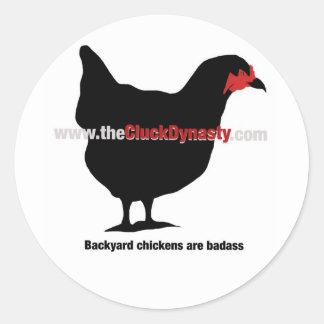 鳴き声の王朝: 裏庭の鶏Badass ラウンドシール