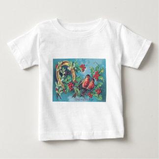 鳴き鳥のクリスマスの鳥のヒイラギのヤドリギの蹄鉄 ベビーTシャツ
