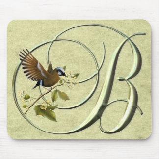 鳴き鳥のモノグラムB マウスパッド