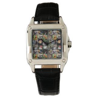 鶏およびオンドリの女性正方形の革腕時計 腕時計