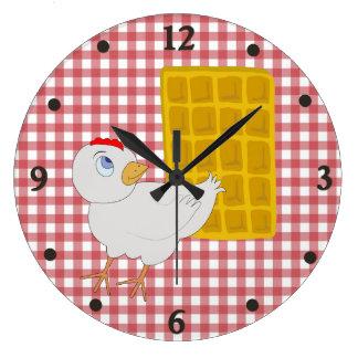 鶏およびワッフルのおもしろいな台所柱時計 ラージ壁時計
