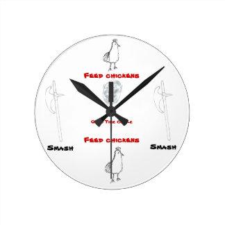 鶏か粉砕の時間円 ラウンド壁時計