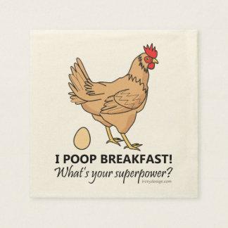 鶏のウンチの朝食のおもしろいなデザイン スタンダードカクテルナプキン