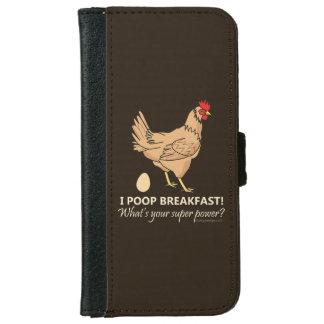 鶏のウンチの朝食のおもしろいなデザイン iPhone 6/6S ウォレットケース
