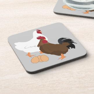 鶏のオンドリの卵の飲み物のコースターは(6)を置きました コースター
