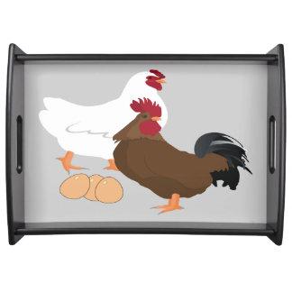 鶏のオンドリは大きいトレイに卵を投げつけます トレー